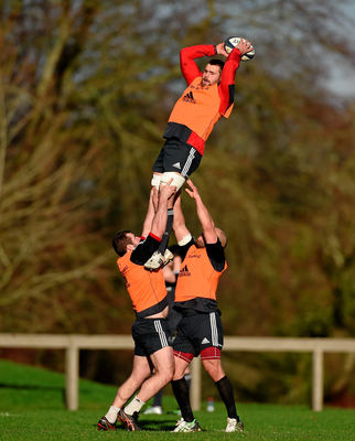 CJ Stander is lifted in the line-out during training