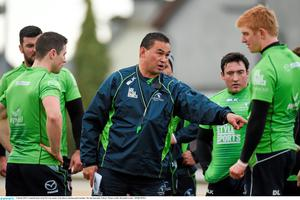 Connacht coach Pat Lam speaks to his players during training in Galway this week