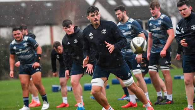 Back at base: Max Deegan only has eyes for the ball at Leinster training. Photo: Sportsfile