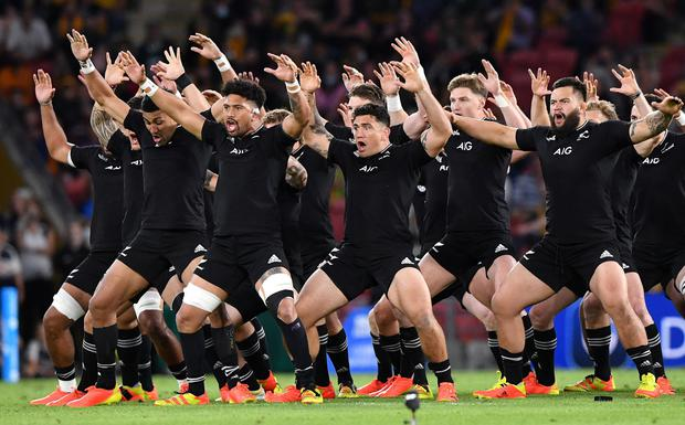 The All Blacks perform the Haka before their Rugby Championship clash against Argentina in Brisbane on Saturday. Photo: Darren England/AAP via Reuters
