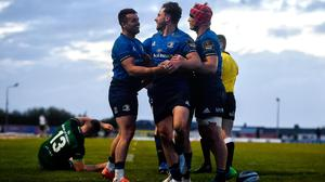 Hugo Keenan of Leinster, centre, is congratulated by team-mates Cian Kelleher, left, and Josh van der Flier after scoring his side's seventh try during the Guinness PRO14 Rainbow Cup win over Connacht. Photo by David Fitzgerald/Sportsfile