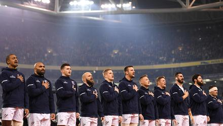 The USA team sing their national anthem ahead of the clash against Ireland in 2018.
