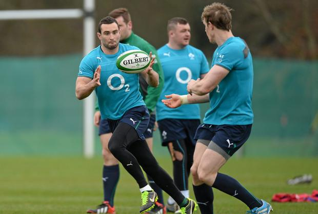 Dave Kearney and Andrew Trimble make the wings for the Probables side