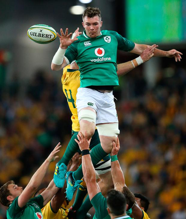 Peter O'Mahony flies high to secure possession for Ireland