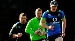 Garry Ringrose, Keith Earls and Cian Healy will be hoping to keep their form and fitness in the build-up to the next World Cup. Photo: Brendan Moran/Sportsfile
