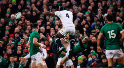 Collision course: Maro Itoje crashes into Ireland's Keith Earls during England's victory in Dublin on Saturday David Fitzgerald/Sportsfile