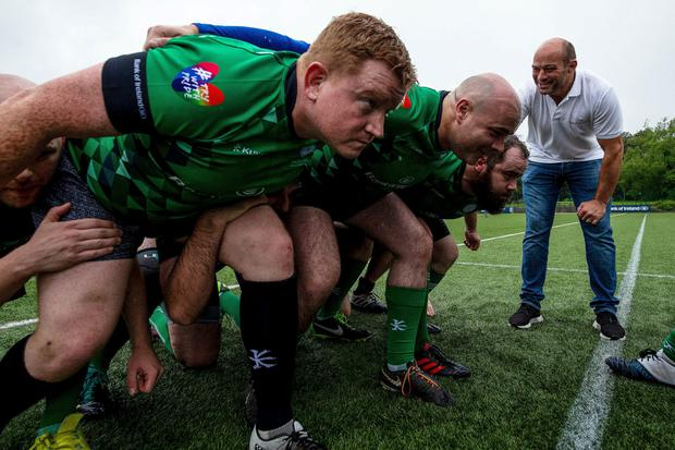 Rory Best leading training with the Emerald Warriors. For tickets, see www.unioncupdublin.ie
