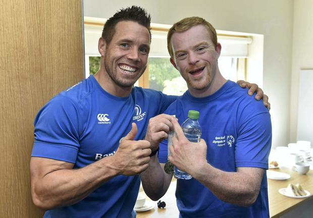 Leinster player Isaac Boss with Special Olympics athlete Jonathan Kilpatrick, from Blackrock, Co Dublin