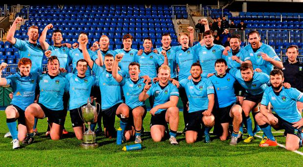 UCD players celebrate after beating Old Belvedere in the Leinster Senior League Cup final at Donnybrook Photo:Sportsfile