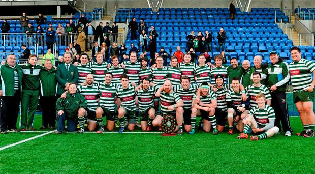 The Greystones squad celebrate after winning the Bank of Ireland Senior League Shield Final Photo:Sportsfile