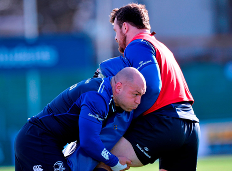 Leinster's Richardt Strauss and Cian Healy during the squad training session in Donnybrook this week Photo: Sportsfile
