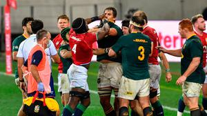 Players tussle during the second Test between the British and Irish Lions and South Africa at Cape Town Stadium. Photo: Ashley Vlotman/Sportsfile