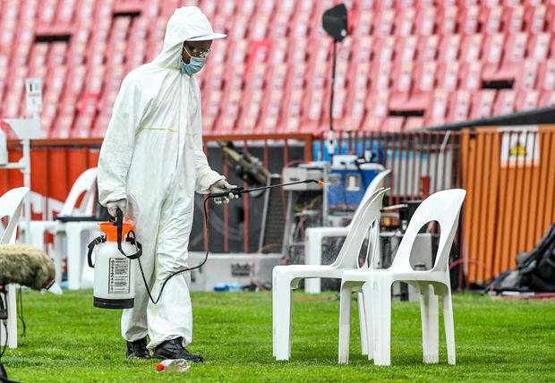 Fumigation against the spread of Covid-19 underway during a match between Emirates Lions and Cell C Sharks at Emirates Airline Park, Johannesburg, South Africa in March. Photo: Getty Images