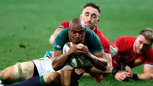 Makazole Mapimpi scores South Africa's crucial try during the second Test. Photo: EJ Langner