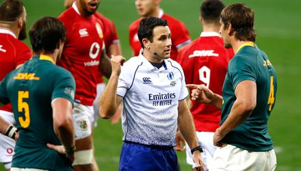 Referee Ben O'Keeffe became the centre of attention in Cape Town on Saturday. Credit: PA
