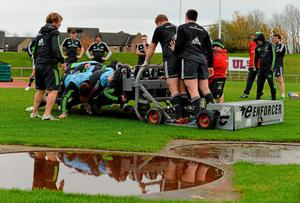 Munster head coach Anthony Foley and players add some weight to the scrummaging machine during squad training ahead of Friday's Guinness PRO12, Round 9, match against Ulster