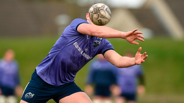 Munster's Dan Goggin keeps his eye on the ball during training in UL. Photo: Sportsfile
