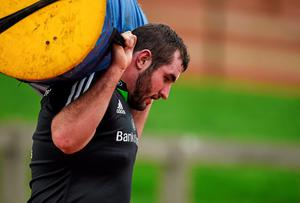 Munster's James Cronin carries a tackle bag during squad training ahead of Friday's Guinness PRO12, Round 9, match against Ulster