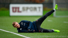 On the rise: Munster will be looking for a leg up, just like Keith Earls in training this week, when they square off against Saracens tomorrow. Photo: Sportsfile