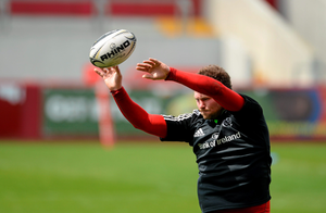 Munster's Donnacha Ryan goes through line-out practice ahead of the Pro 12 clash against Ulster
