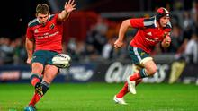 Ian Keatley kicks an unsuccessful penalty in the last minute which would have won the game for Munster. Photo: Diarmuid Greene / SPORTSFILE