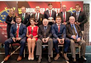 The Munster award winners: back row from left: Ornagh Ferris (Listowel RC), Billy Bourke (Clonmel RC), Gerry Buggy (Ennis RC), Jack O'Donoghue (Academy Player of the Year), George Bradfield (Bandon Grammar School), Andy Brace (Referee of the Year). Front Row from left: Duncan Casey (Young Player of the Year), Ciara Griffin (Women's Player of the Year), Noel Murphy (Hall of Fame award), CJ Stander (Player of the Year) and Brendan Collopy (Young Munster RFC, Senior Club of the Year)