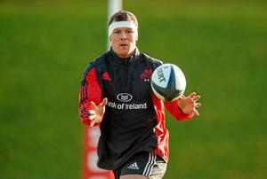 Back-row Robin Copeland in action during squad training
