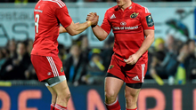 Ian Keatley is congratulated by Conor Murray after he kicked a penalty to secure a losing bonus point against eventual finalists Clermont Auvergne in December