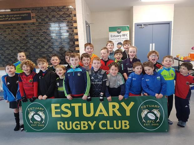 Estuary RFC's minis side in the clubhouse