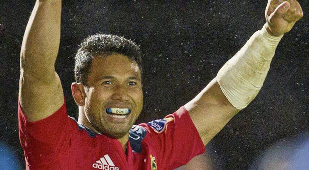 Casey Laulala celebrates last week's win in Glasgow, which showed the growing maturity of this Munster team