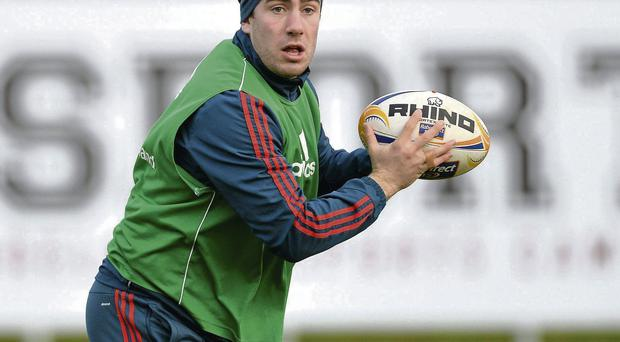 JJ Hanrahan in action during the Munster training session at the University of Limerick this week