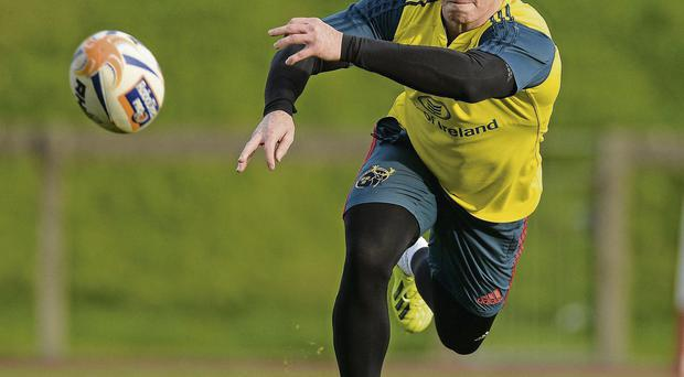 Cathal Sheridan in action during squad training ahead of Munster's match against Cardiff Blues