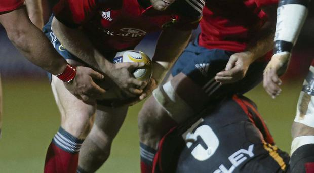 Mike Sherry looks for a gap during last weekend's game against the Dragons before suffering cruciate ligament damage during the game at Rodney Parade