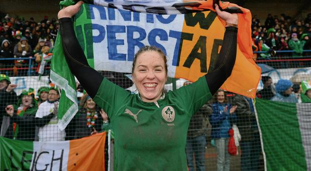 Niamh Briggs celebrates Ireland's Grand Slam win in Italy last year