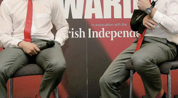 Peter O'Mahony in conversation with Niall Ronan during the Munster rugby awards lunch yesterday. Picture: Dan Sheridan