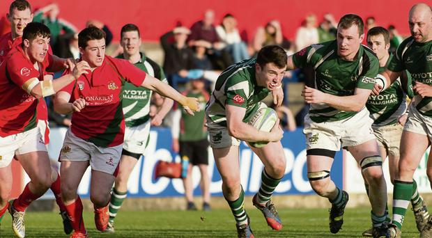 Kanturk's Mark Healy breaks away against Clonakilty in Cork County Cup Final at Musgrave Park