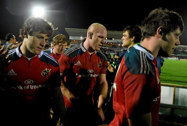 Pat Howard, Stephen Archer, Paul O'Connell and Dave O'Callaghan leave the Sportsground pitch after Munster's disappointing defeat to Connacht on New Year's Day