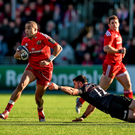 Simon Zebo skips past Saracens' Brad Barritt at Allianz Park last week before being forced off early through injury