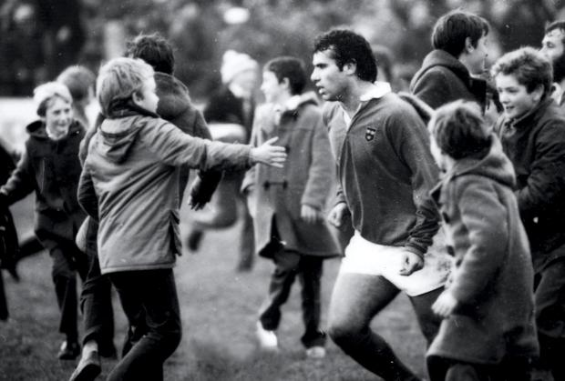Tony Ward is congratulated by fans after Munster's famous victory over Australia at Musgrave Park in 1981