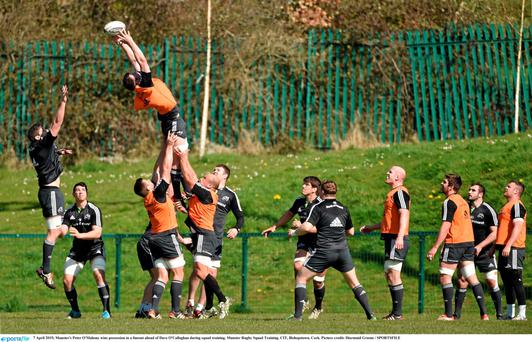 Peter O'Mahony wins possession during lineout practice at Bishopstown