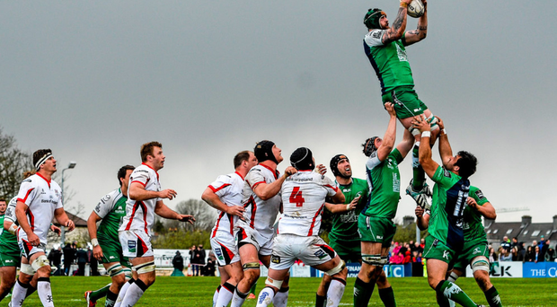 Connacht's Aly Muldowney wins a line-out against Ulster