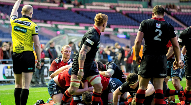 Duncan Casey goes over to score a try for Munster during their hard-fought win over Edinburgh
