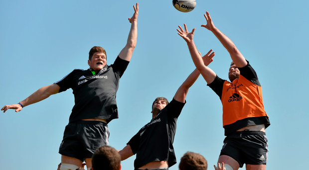 Munster's Donnacha Ryan wins possession in a lineout ahead of Dave O'Callaghan and Jack O'Donoghue during training at Irish Independent Park