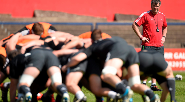 Munster head coach Anthony Foley looks on during training in Irish Independent Park