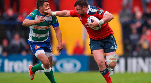 Dave Kilcoyne, pictured brushing off Treviso's Edoardo Gori, was delighted to get 70 minutes against the Italians