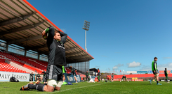 Munster's CJ Stander does some stretching exercises during training at Irish Independent Park. Picture: Diarmuid Greene/Sportsfile.