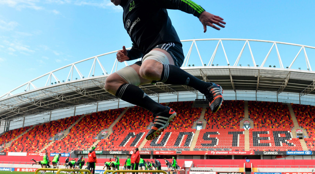 Paul O'Connell goes through his paces during Munster training ahead of tomorrow's game against Ospreys