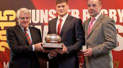 Dr Paul McCarthy, Jack O'Donoghue (John McCarthy Award for Greencore Munster Rugby Academy Player of the Year) and Peter Malone (Munster Rugby Elite Player Development)