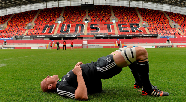 Paul O'Connell stretches during training at Thomond Park ahead of the Pro12 final against Glasgow