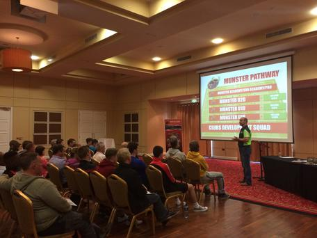 Parents listen in to a talk on the Munster rugby pathway